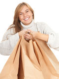 Woman with ecological paper shopping bags Royalty Free Stock Photography