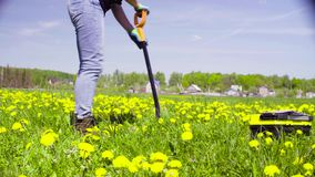 Woman ecologist on the meadow digging a soil slit.  stock footage