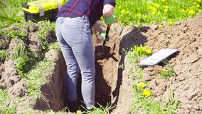 Woman ecologist on the meadow digging a soil slit.  stock video