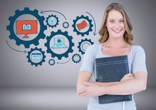Woman with education graphics drawings Stock Photo