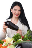 Woman with eggplant royalty free stock images