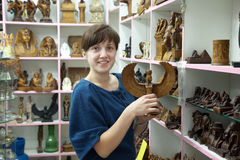 Woman  in egyptian souvenirs  shop Royalty Free Stock Image