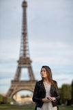 Woman eifel tower Stock Images