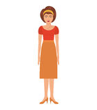 Woman with eighties style and high waisted skirt Royalty Free Stock Photography