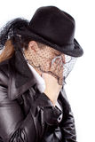 Woman eith black coat and hat Royalty Free Stock Photos