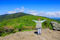 Woman Elated Over Mountain View North Carolina Stock Image