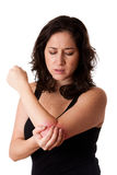 Woman with elbow pain Royalty Free Stock Photo