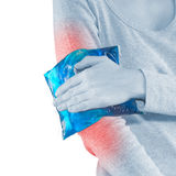 Woman with elbow pain. Woman with elbow pain or stiffness Stock Photography