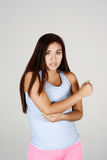 Woman With Elbow Pain. Woman working out and having some elbow pain Stock Photo
