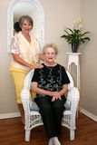 Woman and Elderly Mother Stock Photo