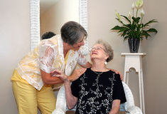 Woman and Elderly Mother Royalty Free Stock Images