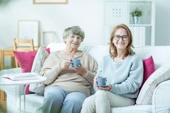 Woman with elderly mother Royalty Free Stock Photography