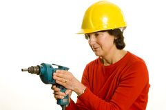 Woman with electric drill Stock Photography