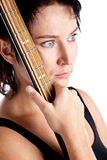 Woman with electric guitar. Isolated on white background Royalty Free Stock Photo