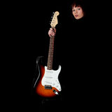 Woman with electric guitar Royalty Free Stock Image