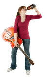 Woman with electric guitar drinking alcohol Royalty Free Stock Photos