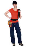 A woman electrician. Stock Photos