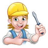 Woman Electrician Holding Screwdriver Stock Photo