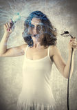 Woman Electricity. Women problem with power and fear Royalty Free Stock Image
