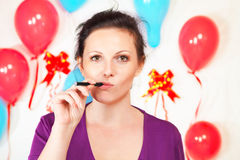 Woman with electronic cigarette Stock Image