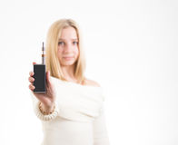 Woman with electronic cigarette royalty free stock image