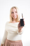 Woman with electronic cigarette stock photos