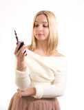 Woman with electronic cigarette royalty free stock images