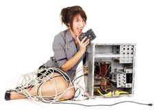 Woman and electronic technology Stock Image