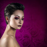 Woman with elegant make-up and hairstyle Royalty Free Stock Photos