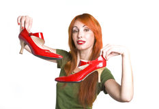 Woman with the elegant red shoes Royalty Free Stock Photo
