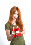 Woman with the elegant red varnished shoes Royalty Free Stock Photography