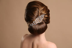 Woman with elegant retro hairstyle with hair accessory Stock Photography