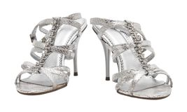 Woman elegant silver shoes Royalty Free Stock Image