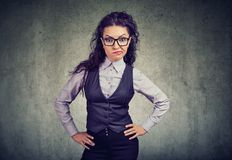 Annoyed formal girl in glasses Stock Images