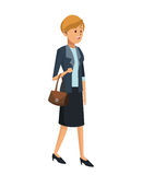 woman elegant suit and handbag royalty free illustration
