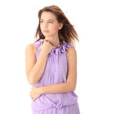 Woman in an elegant violet evening gown Royalty Free Stock Images