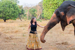 Woman with elephant Royalty Free Stock Photos