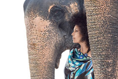 Woman with elephant Royalty Free Stock Image