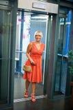 Woman in elevator Stock Photos