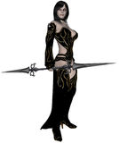 Woman elf warrior with spear. 3D rendered woman dark elf warrior with spear on white background isolated Stock Images