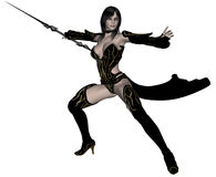 Woman elf warrior with spear. 3D rendered woman dark elf warrior with spear on white background isolated Royalty Free Stock Photo