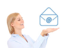 Woman with email sign Stock Photography