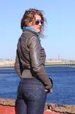 Woman on embankment Royalty Free Stock Photos