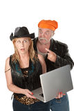 Woman embarrassed by the contents of her laptop Stock Photos