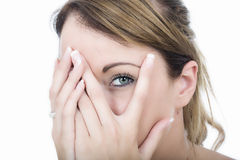 Woman Embarrassed Shy Peeping Through Fingers Stock Photos