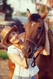 Woman embrace horse Royalty Free Stock Photography