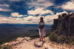 Woman embrace nature at Bolivian mountains on the border with Brazil vintage effect royalty free stock image