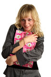 Woman embrace shopping bag Stock Images