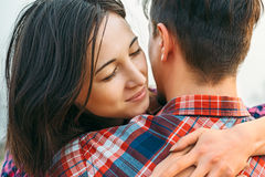 Woman embraces a man Royalty Free Stock Images