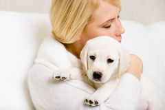 Woman embraces puppy Royalty Free Stock Image